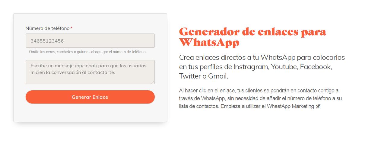 Generador de enlaces Whatsapp.