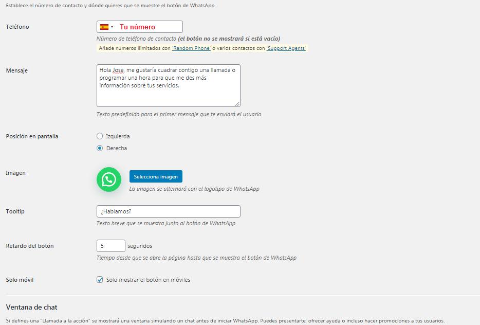 Configuración del plugin Join.Chat para Whatsapp.