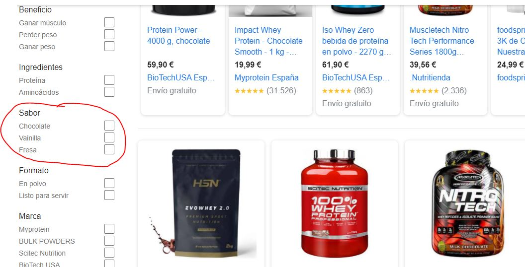 Variaciones en Google Shopping